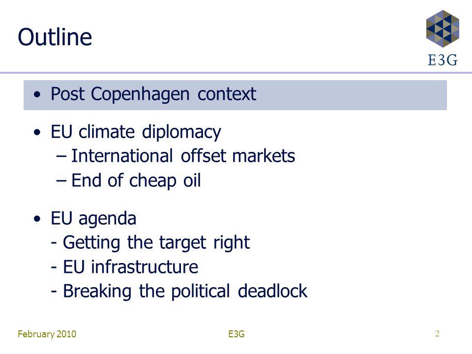 February 2010E3G2 Outline Post Copenhagen context EU climate diplomacy –International offset markets –End of cheap oil EU agenda - Getting the target right - EU infrastructure - Breaking the political deadlock