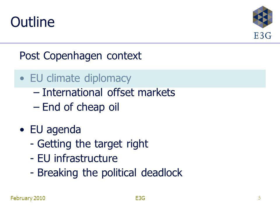 February 2010E3G5 Outline Post Copenhagen context EU climate diplomacy –International offset markets –End of cheap oil EU agenda - Getting the target right - EU infrastructure - Breaking the political deadlock