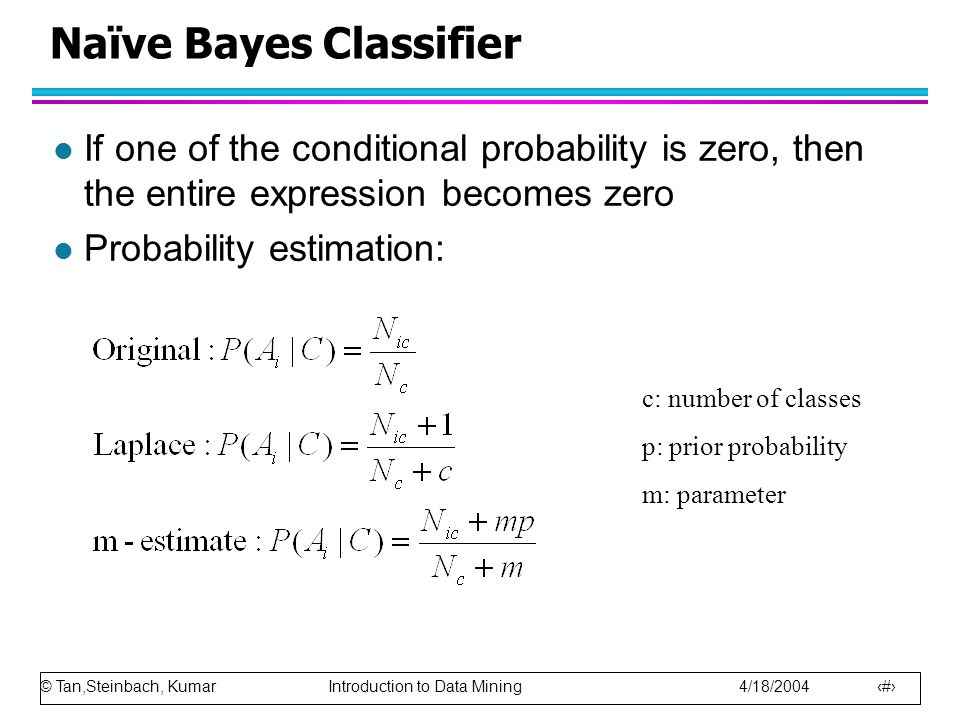 © Tan,Steinbach, Kumar Introduction to Data Mining 4/18/2004 66 Naïve Bayes Classifier l If one of the conditional probability is zero, then the entir