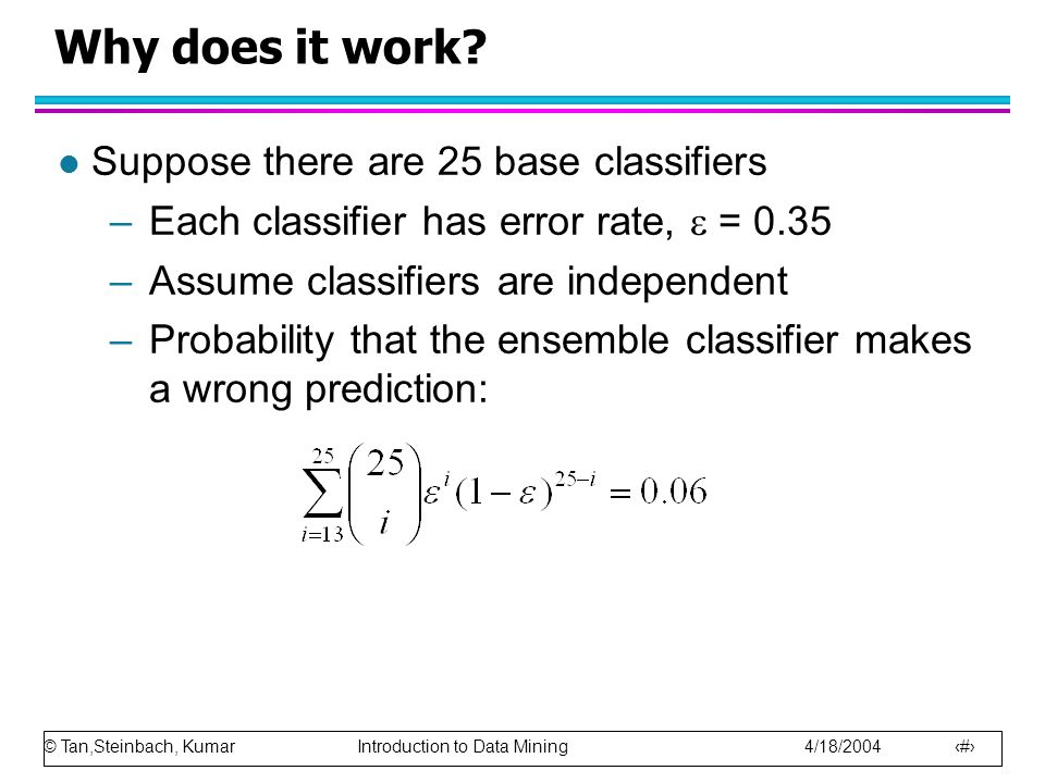 © Tan,Steinbach, Kumar Introduction to Data Mining 4/18/2004 95 Why does it work? l Suppose there are 25 base classifiers –Each classifier has error r