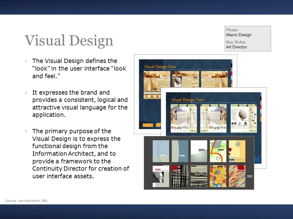 Visual Design The Visual Design defines the look in the user interface look and feel. It expresses the brand and provides a consistent, logical and attractive visual language for the application.