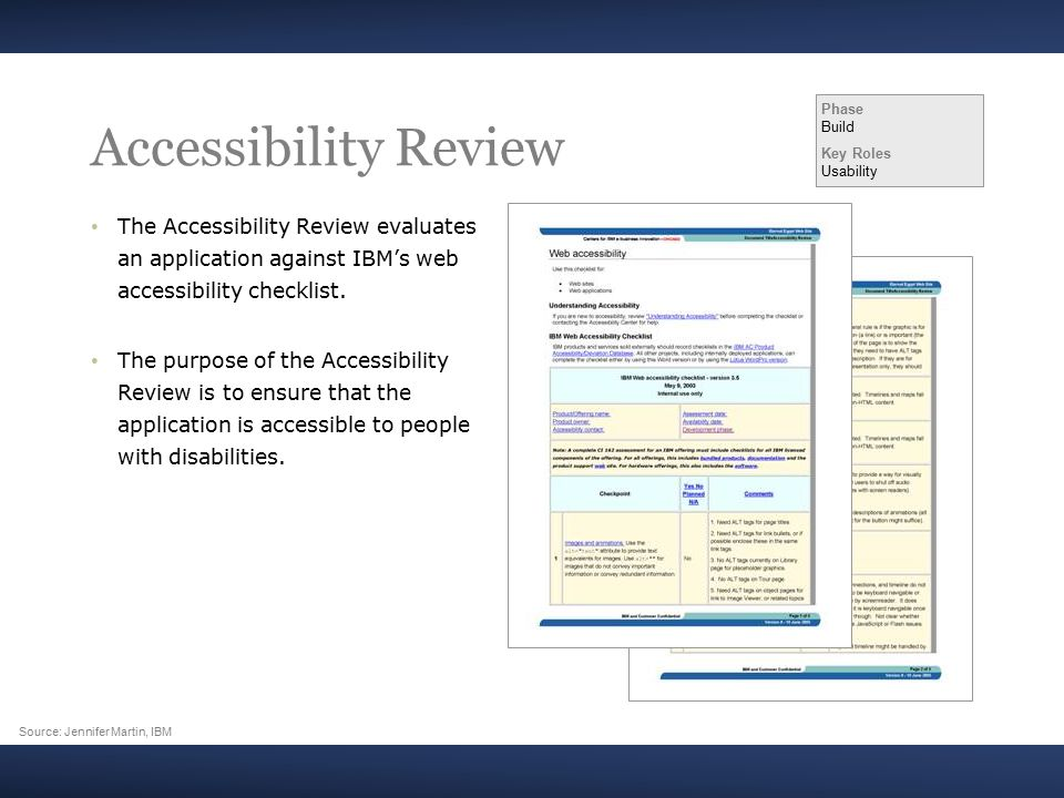 Accessibility Review The Accessibility Review evaluates an application against IBM's web accessibility checklist.