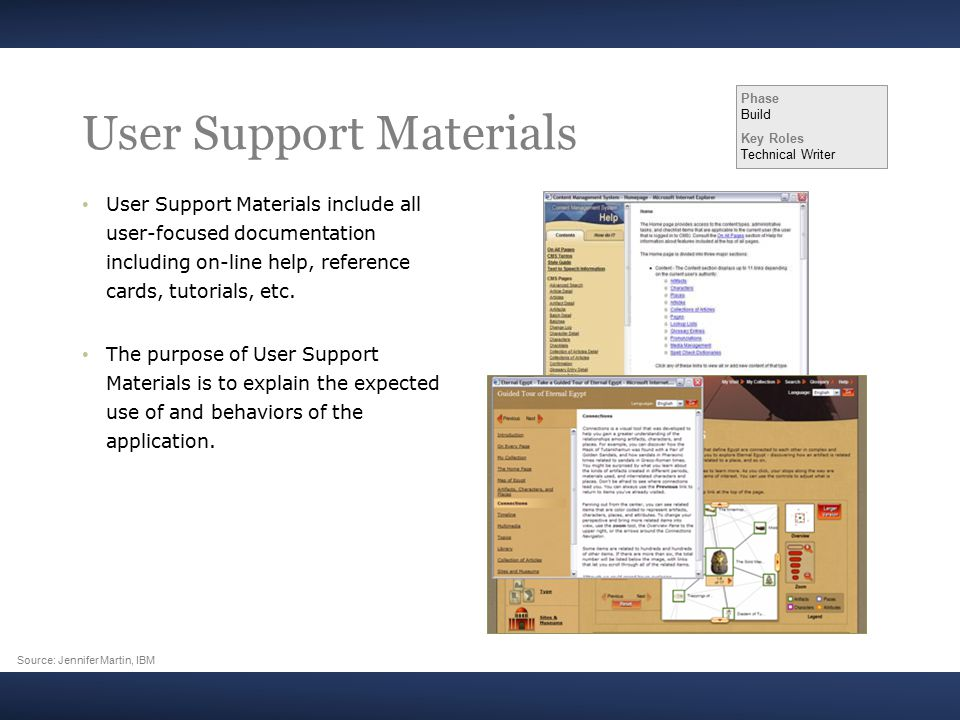 User Support Materials User Support Materials include all user-focused documentation including on-line help, reference cards, tutorials, etc.