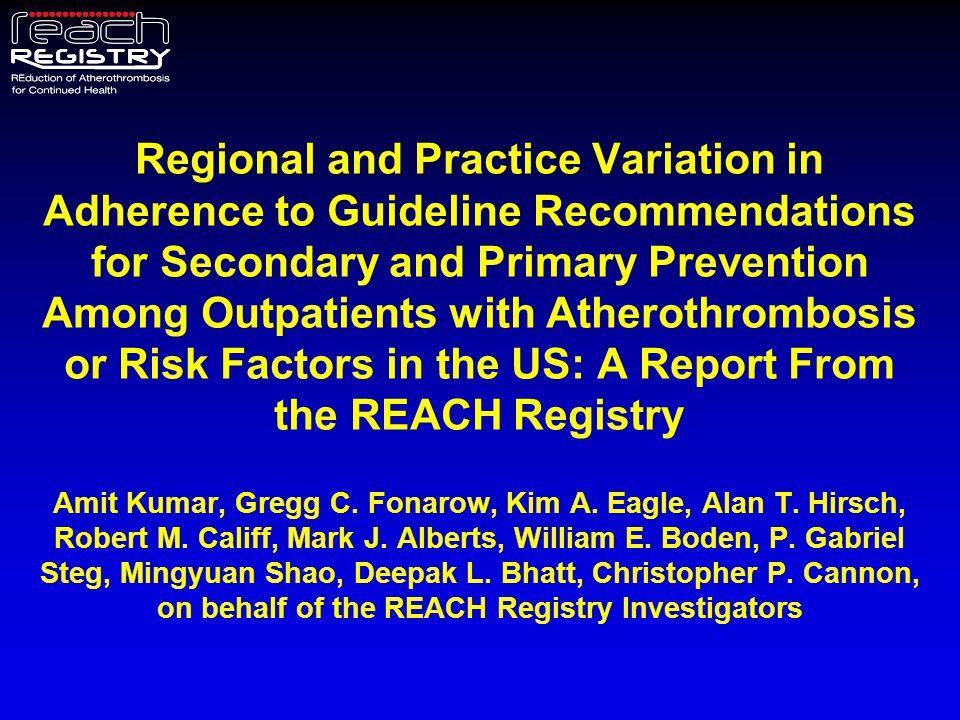 Patient Characteristics at Baseline – Stratified by US Census Region 1.Kumar A et al, on behalf of the REACH Registry Investigators.