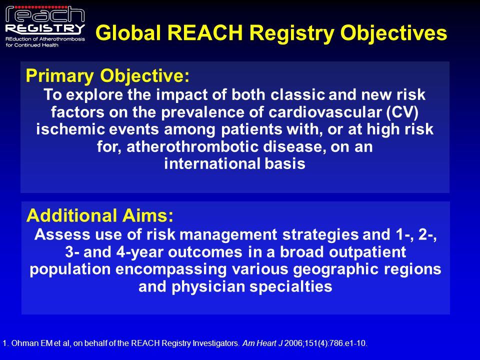 Participating organizations The REACH Registry is sponsored jointly by and endorsed by