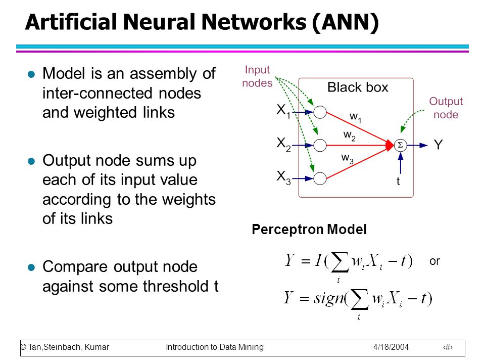 © Tan,Steinbach, Kumar Introduction to Data Mining 4/18/2004 22 Artificial Neural Networks (ANN) l Model is an assembly of inter-connected nodes and weighted links l Output node sums up each of its input value according to the weights of its links l Compare output node against some threshold t Perceptron Model or
