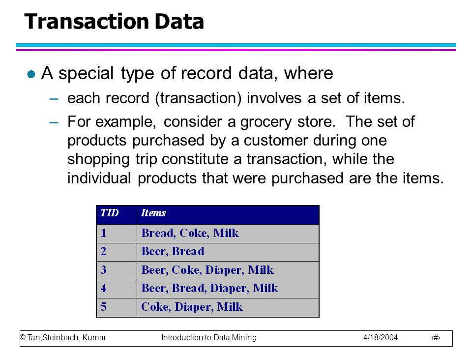 © Tan,Steinbach, Kumar Introduction to Data Mining 4/18/2004 15 Transaction Data l A special type of record data, where –each record (transaction) inv