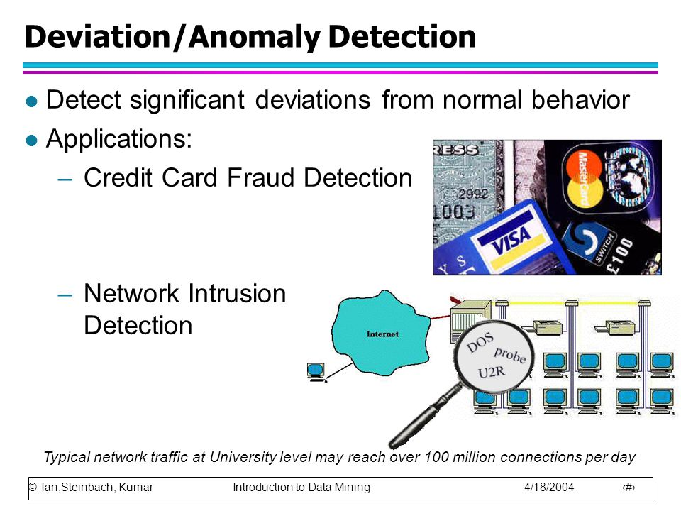 © Tan,Steinbach, Kumar Introduction to Data Mining 4/18/2004 32 Deviation/Anomaly Detection l Detect significant deviations from normal behavior l Applications: –Credit Card Fraud Detection –Network Intrusion Detection Typical network traffic at University level may reach over 100 million connections per day