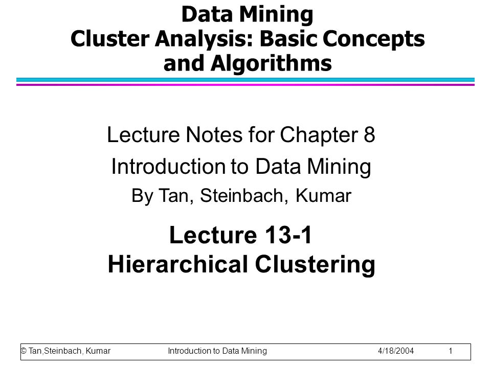 © Tan,Steinbach, Kumar Introduction to Data Mining 4/18/2004 22 Limitations of MAX Original Points Two Clusters Tends to break large clusters Biased towards globular clusters
