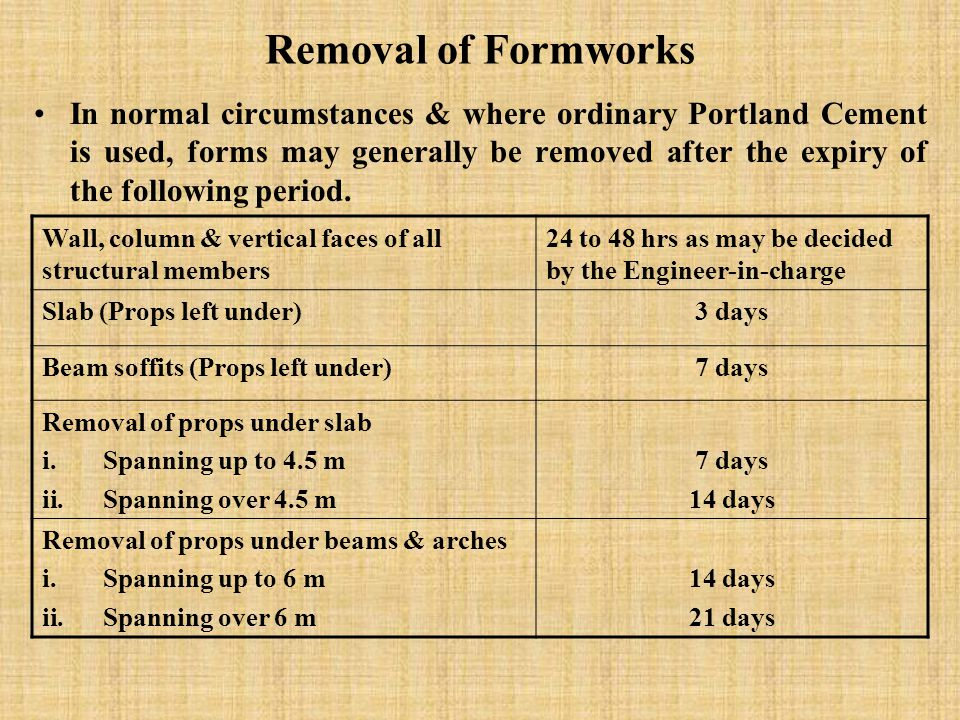 Removal of Formworks In normal circumstances & where ordinary Portland Cement is used, forms may generally be removed after the expiry of the following period.