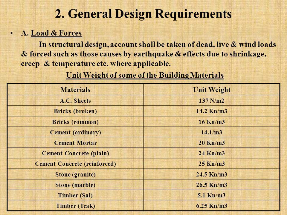2. General Design Requirements A.