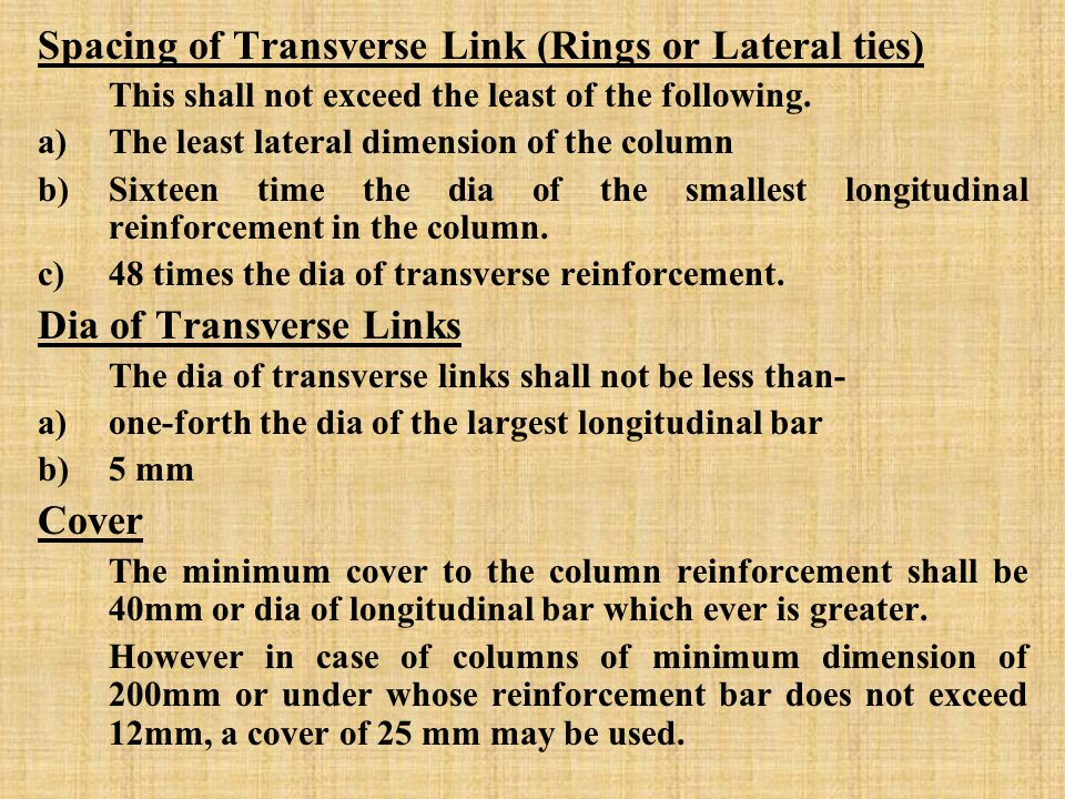 Spacing of Transverse Link (Rings or Lateral ties) This shall not exceed the least of the following.