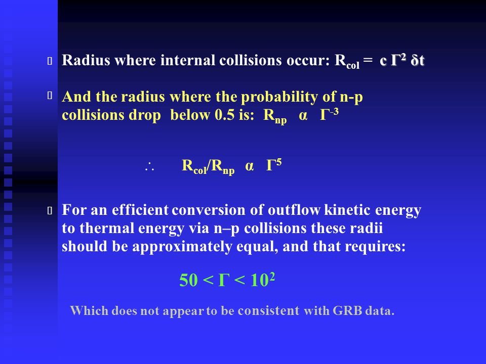 c Γ 2 δt Radius where internal collisions occur: R col = c Γ 2 δt And the radius where the probability of n-p collisions drop below 0.5 is: R np α Γ -3  R col /R np α Γ 5 For an efficient conversion of outflow kinetic energy to thermal energy via n–p collisions these radii should be approximately equal, and that requires: 50 < Γ < 10 2 ★ ★ ★ Which does not appear to be consistent with GRB data.