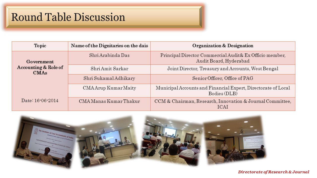Directorate of Research & Journal TopicName of the Dignitaries on the daisOrganization & Designation Government Accounting & Role of CMAs Date: 16-06-