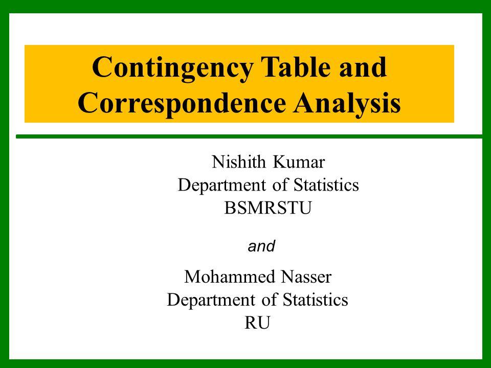 Contingency Table and Correspondence Analysis Nishith Kumar Department of Statistics BSMRSTU Mohammed Nasser Department of Statistics RU and