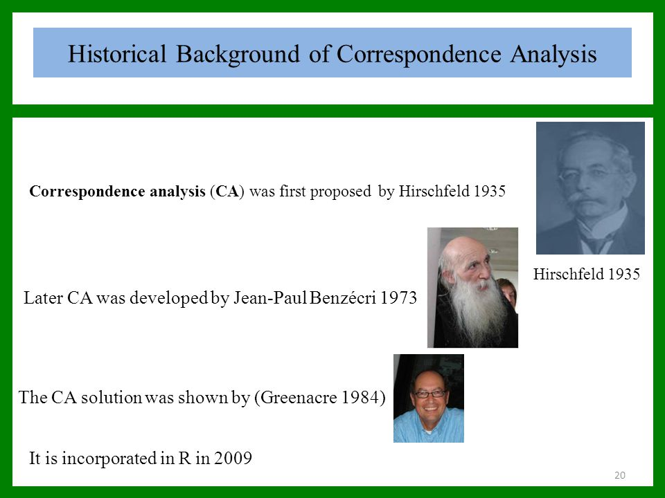 Historical Background of Correspondence Analysis The CA solution was shown by (Greenacre 1984) Correspondence analysis (CA) was first proposed by Hirs