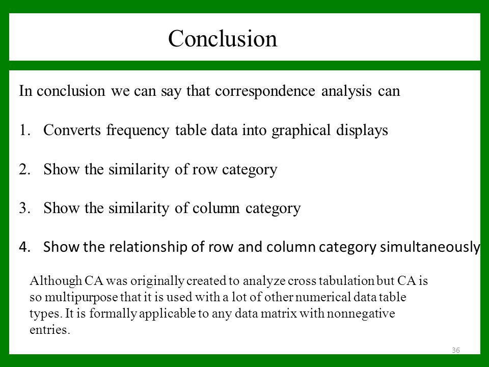 Conclusion In conclusion we can say that correspondence analysis can 1.Converts frequency table data into graphical displays 2.Show the similarity of