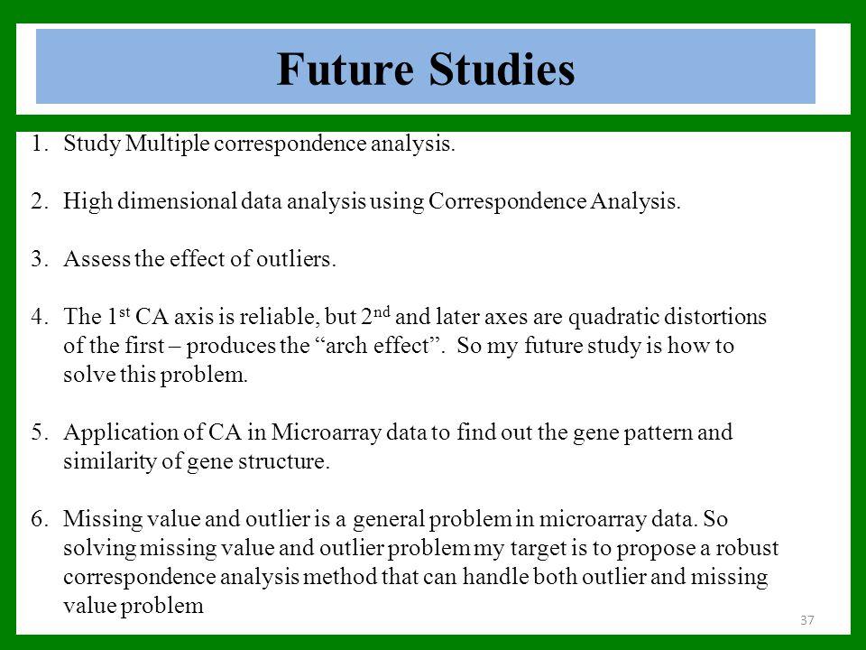 Future Studies 37 1.Study Multiple correspondence analysis. 2.High dimensional data analysis using Correspondence Analysis. 3.Assess the effect of out