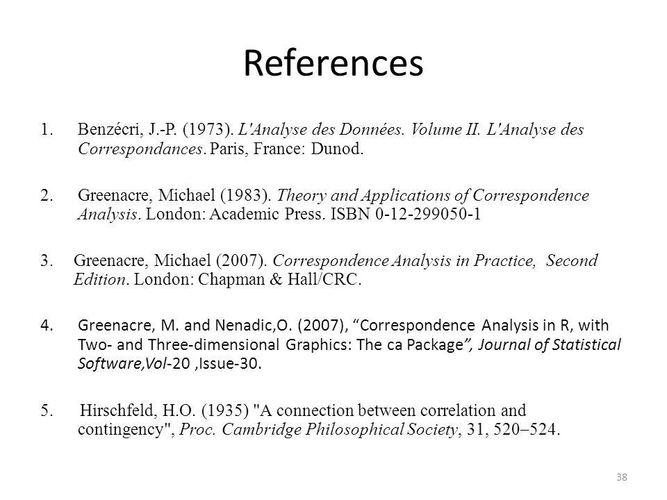 References 1.Benzécri, J.-P. (1973). L'Analyse des Données. Volume II. L'Analyse des Correspondances. Paris, France: Dunod. 2.Greenacre, Michael (1983