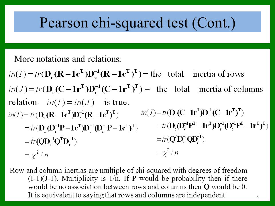Pearson chi-squared test (Cont.) More notations and relations: Row and column inertias are multiple of chi-squared with degrees of freedom (I-1)(J-1).