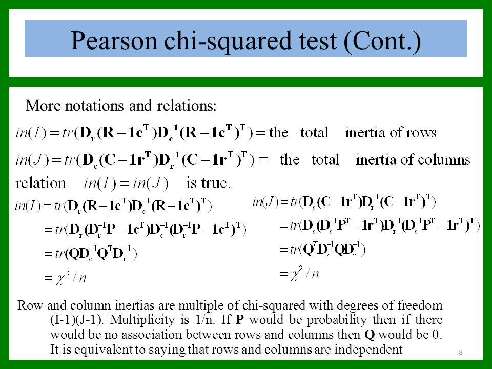 Pearson chi-squared test (Cont.) For Smoke Data: Chi squared = 16.4416, df = 12, p-value = 0.1718 Principal inertias: 1 2 3 Value 0.074759 0.010017 0.000414 Percentage 87.76% 11.76% 0.49% Rows: SM JM SE JE SC Inertia 0.002673 0.011881 0.038314 0.026269 0.006053 Columns: none light medium heavy Inertia 0.049186 0.007059 0.012610 0.016335 We have seen, Chi square value = total Inertia * Grand total, df= (no.
