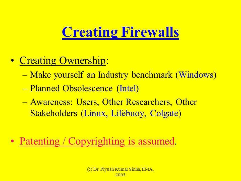 (c) Dr. Piyush Kumar Sinha, IIMA, 2003 Creating Firewalls Creating Ownership: –Make yourself an Industry benchmark (Windows) –Planned Obsolescence (In