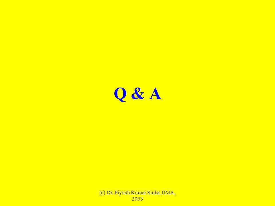 (c) Dr. Piyush Kumar Sinha, IIMA, 2003 Q & A