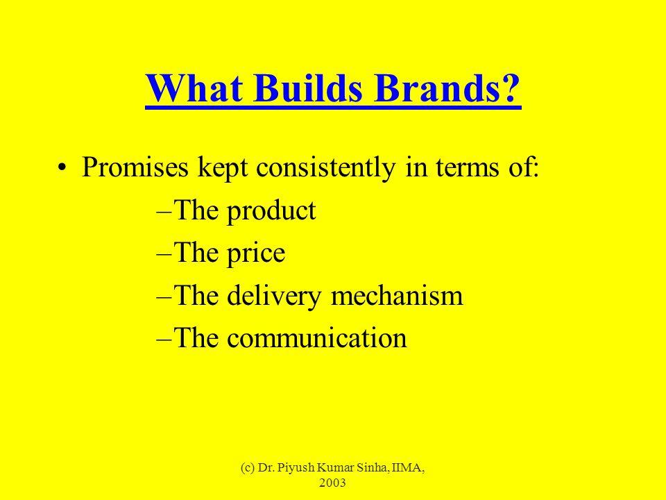(c) Dr.Piyush Kumar Sinha, IIMA, 2003 How to build a brand.