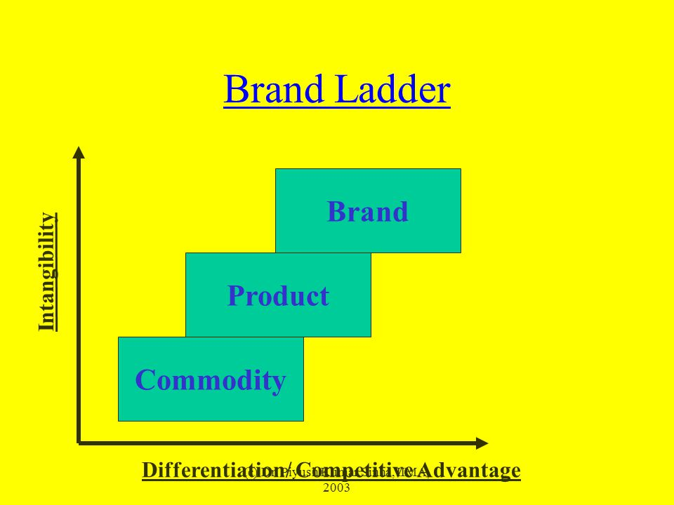 (c) Dr. Piyush Kumar Sinha, IIMA, 2003 Brand Ladder Commodity Brand Product Differentiation/ Competitive Advantage Intangibility