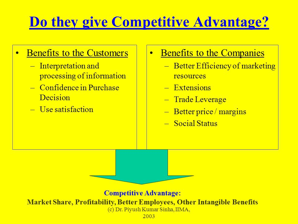 (c) Dr. Piyush Kumar Sinha, IIMA, 2003 Do they give Competitive Advantage? Benefits to the Customers –Interpretation and processing of information –Co