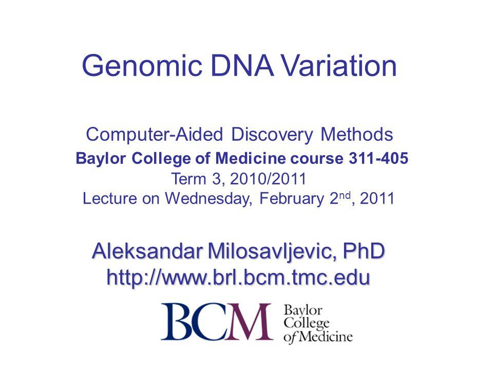 Cancer Genome Variation: Methods