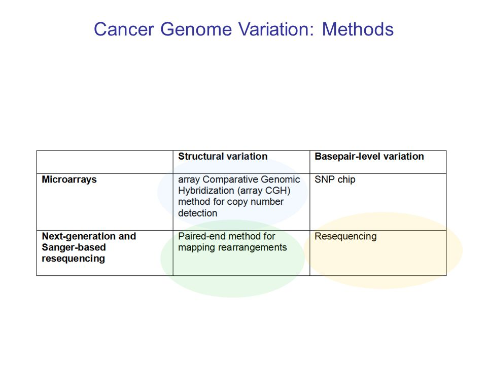 Cancer Genome Variation object of discovery single gene pathway / module / gene set background knowledge employed in discovery none expression and other attributes of individual genes networks / modules / gene sets [Miller et al.] [Chin et al.