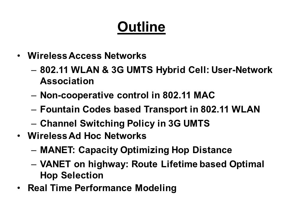 Main Conclusions DCF protocol in an 802.11 WLAN under a non- cooperative setting is inefficient Under non-cooperative rate assignment, single node throughput degrades very fast with increasing number of users Under cooperative rate assignment, single node throughput performance improves –from 11% to 200% for linear cost approximation –from 12% to 100% for exponential cost approximation