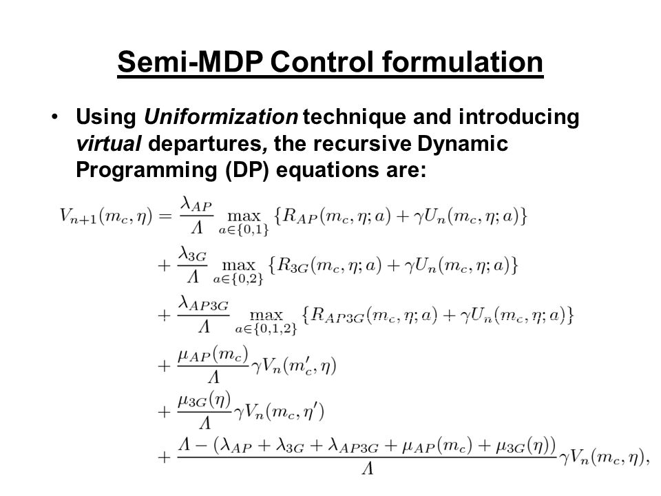 Formulation Define an (L,q)-threshold policy u as: It has been proved in Altman et al.