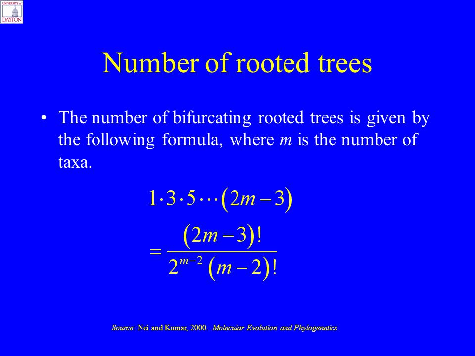 Number of rooted trees The number of bifurcating rooted trees is given by the following formula, where m is the number of taxa.