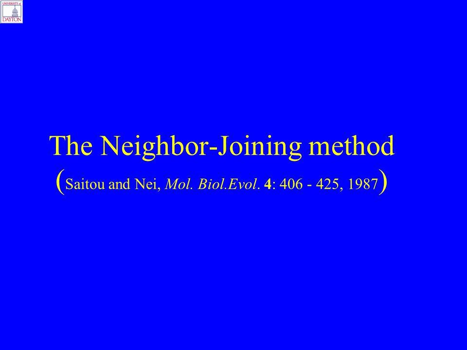 The Neighbor-Joining method ( Saitou and Nei, Mol. Biol.Evol. 4: 406 - 425, 1987 )
