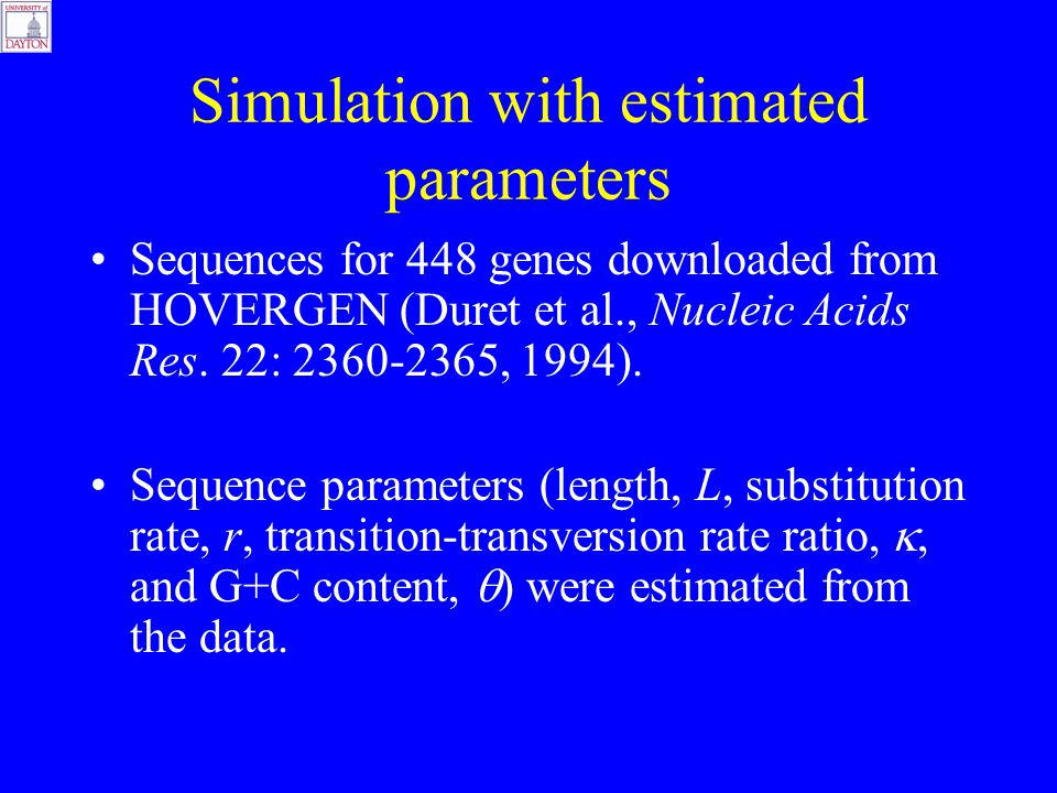 Simulation with estimated parameters Sequences for 448 genes downloaded from HOVERGEN (Duret et al., Nucleic Acids Res.