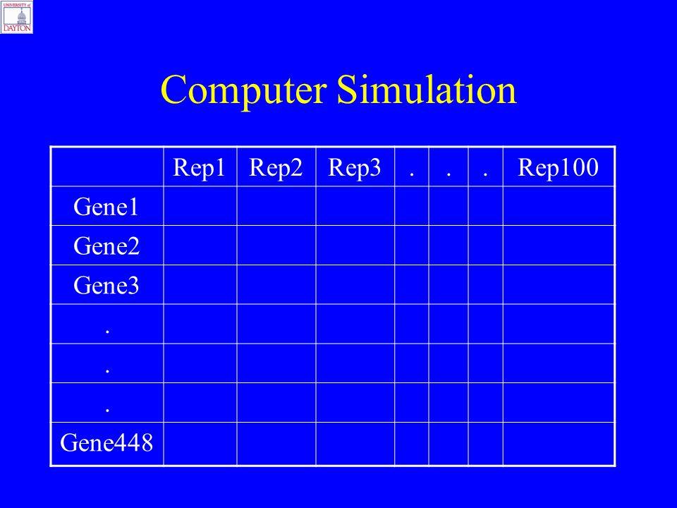 Computer Simulation Rep1Rep2Rep3...Rep100 Gene1 Gene2 Gene3... Gene448