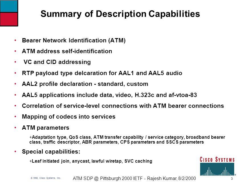 3 ATM SDP @ Pittsburgh 2000 IETF - Rajesh Kumar, 8/2/2000 © 1998, Cisco Systems, Inc.