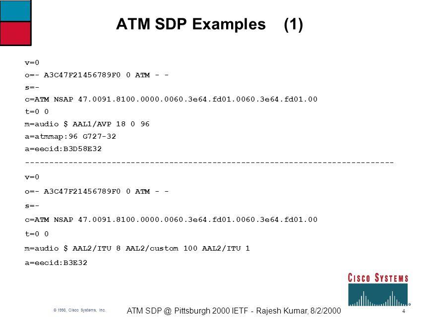 4 ATM SDP @ Pittsburgh 2000 IETF - Rajesh Kumar, 8/2/2000 © 1998, Cisco Systems, Inc.