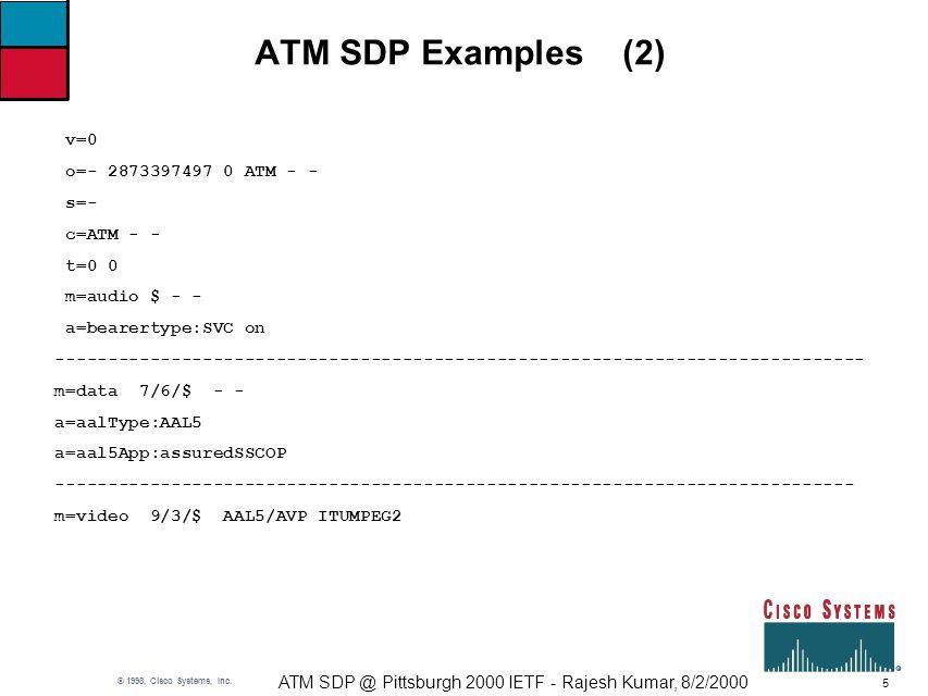 5 ATM SDP @ Pittsburgh 2000 IETF - Rajesh Kumar, 8/2/2000 © 1998, Cisco Systems, Inc.