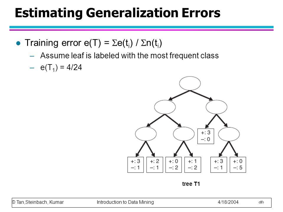 © Tan,Steinbach, Kumar Introduction to Data Mining 4/18/2004 7 Estimating Generalization Errors l Training error e(T) =  e(t i ) /  n(t i ) –Assume