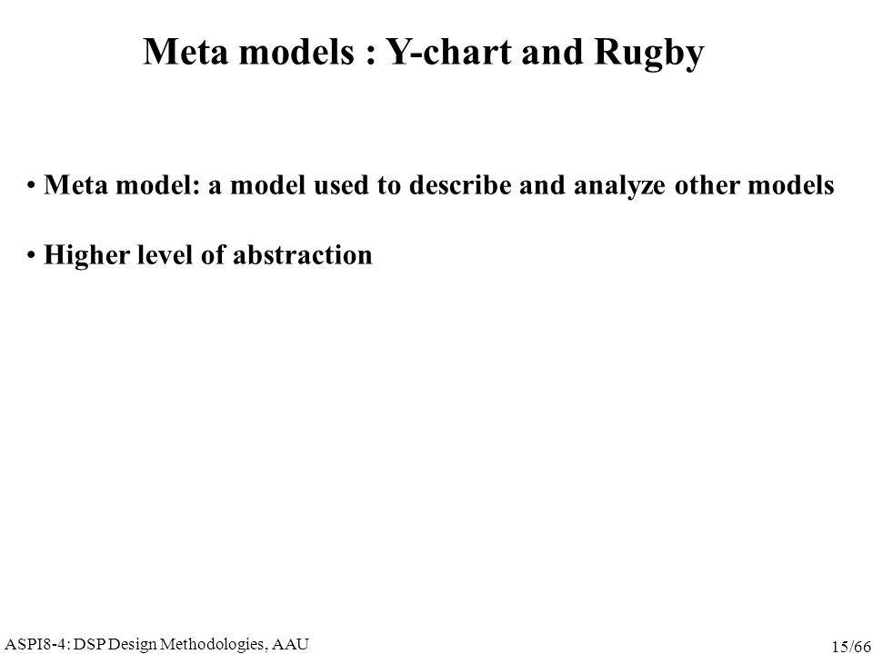 ASPI8-4: DSP Design Methodologies, AAU 15/66 Meta models : Y-chart and Rugby Meta model: a model used to describe and analyze other models Higher leve