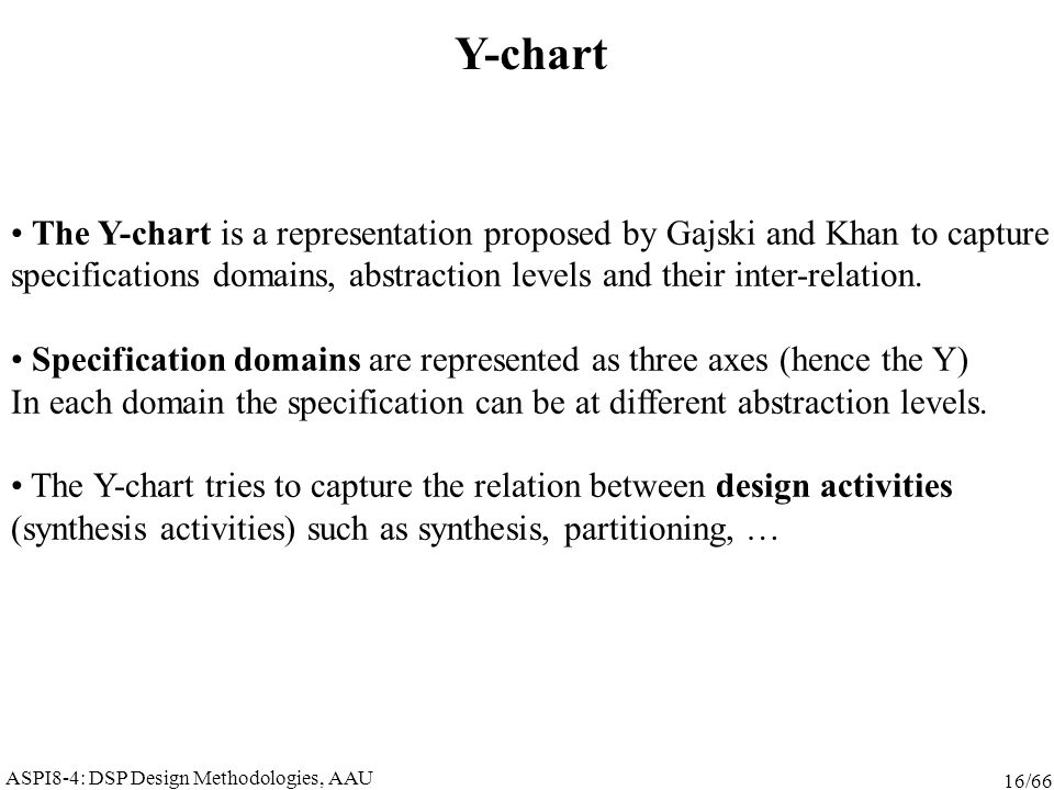 ASPI8-4: DSP Design Methodologies, AAU 16/66 Y-chart The Y-chart is a representation proposed by Gajski and Khan to capture specifications domains, abstraction levels and their inter-relation.
