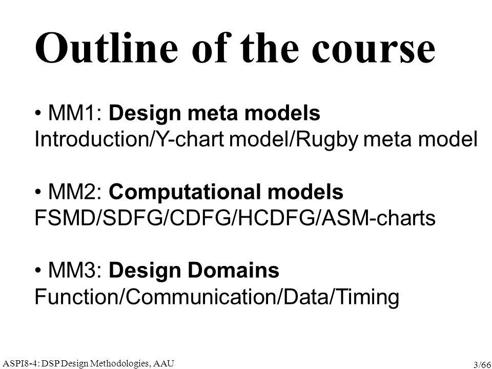 ASPI8-4: DSP Design Methodologies, AAU 3/66 Outline of the course MM1: Design meta models Introduction/Y-chart model/Rugby meta model MM2: Computational models FSMD/SDFG/CDFG/HCDFG/ASM-charts MM3: Design Domains Function/Communication/Data/Timing