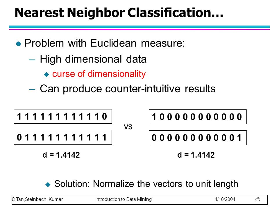 © Tan,Steinbach, Kumar Introduction to Data Mining 4/18/2004 44 Nearest Neighbor Classification… l Problem with Euclidean measure: –High dimensional data  curse of dimensionality –Can produce counter-intuitive results 1 1 1 1 1 1 1 1 1 1 1 0 0 1 1 1 1 1 1 1 1 1 1 1 1 0 0 0 0 0 0 0 0 0 0 0 0 0 0 0 0 0 0 0 0 0 0 1 vs d = 1.4142  Solution: Normalize the vectors to unit length