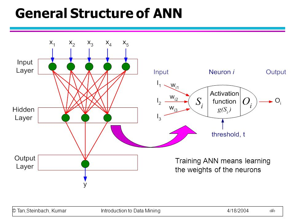© Tan,Steinbach, Kumar Introduction to Data Mining 4/18/2004 64 General Structure of ANN Training ANN means learning the weights of the neurons