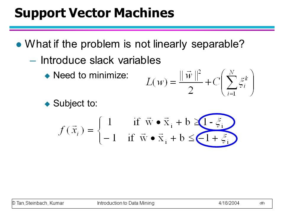 © Tan,Steinbach, Kumar Introduction to Data Mining 4/18/2004 75 Support Vector Machines l What if the problem is not linearly separable.