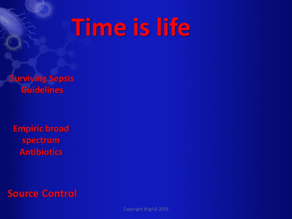 Copyright Wigfull 2013 Time is life Empiric broad spectrum Antibiotics Source Control Surviving Sepsis Guidelines
