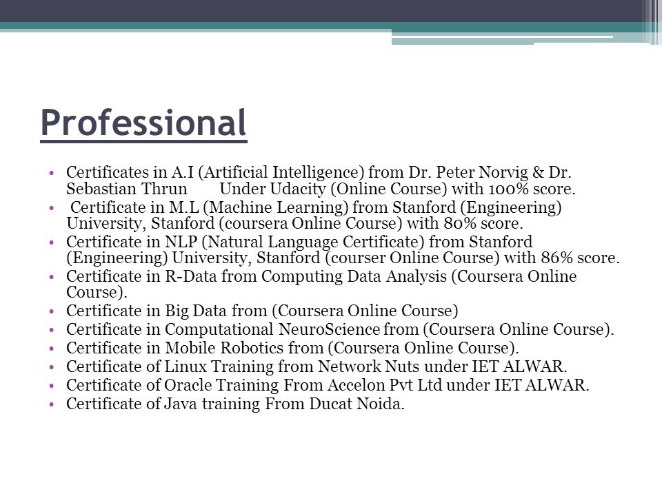 Professional Certificates in A.I (Artificial Intelligence) from Dr.